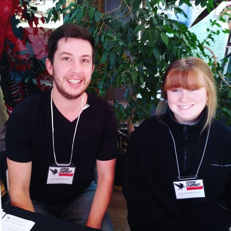 Forum Manager Julian Paquette and Forum youth volunteer Tyger Stafford.
