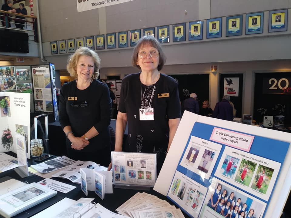 Canadian Federation of University Women volunteers Sandra Hyslop and Irene Wright.