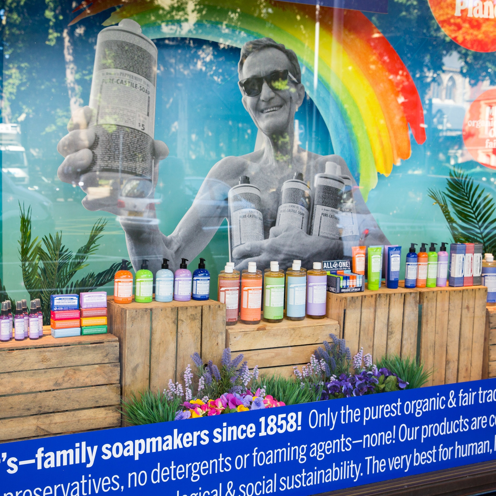 Dr Bronner Whole Foods Windows