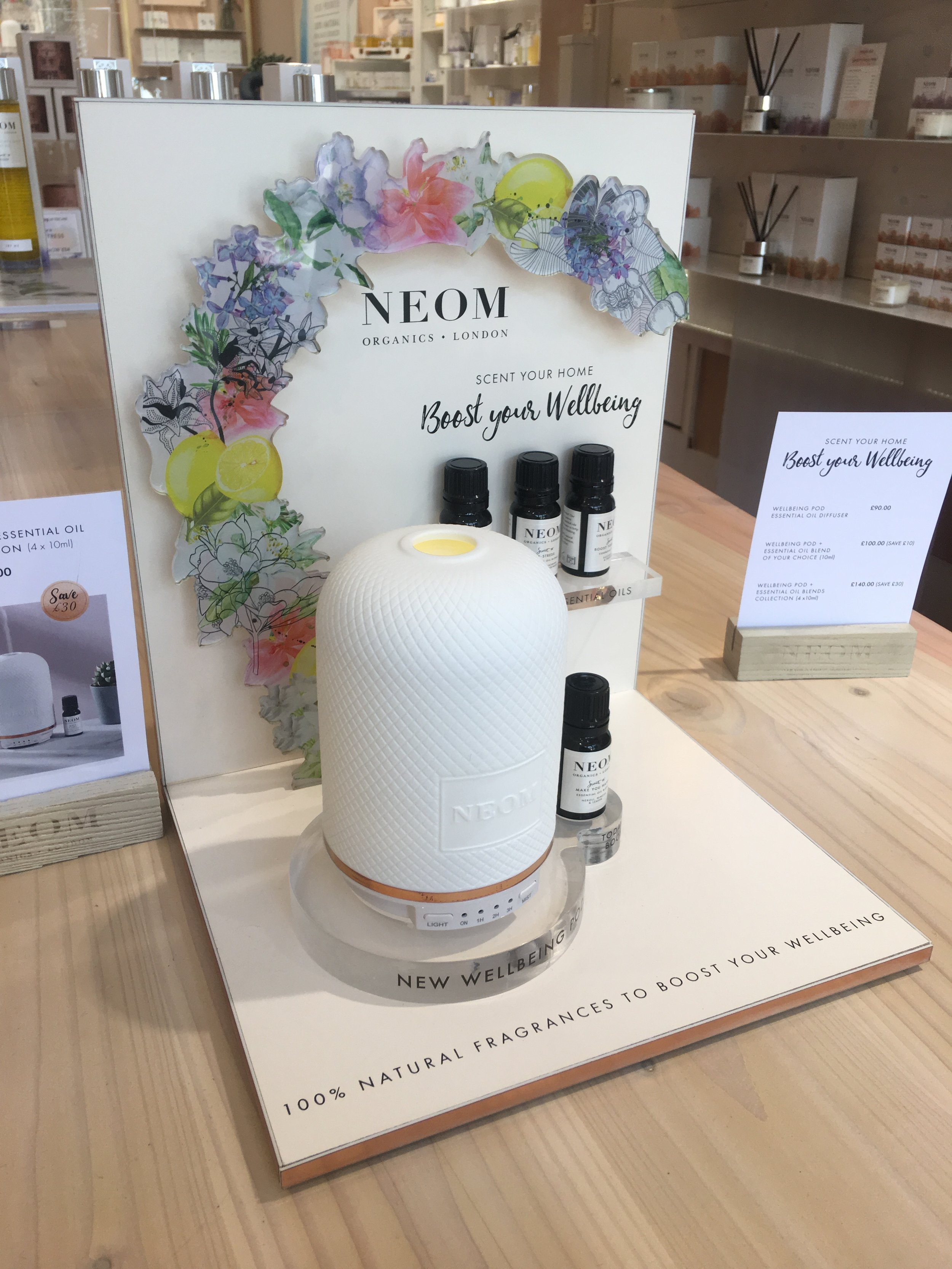 Neom Organics- retail glorifier unit- Neue Designs