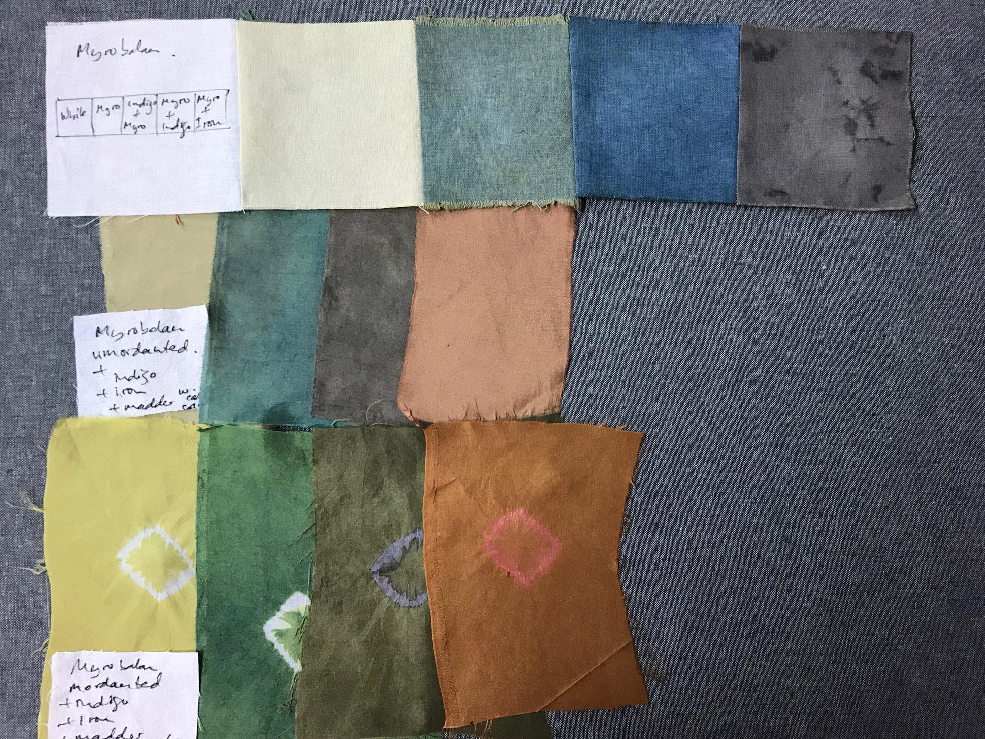 Myrobalan dyed samples on silk and cotton