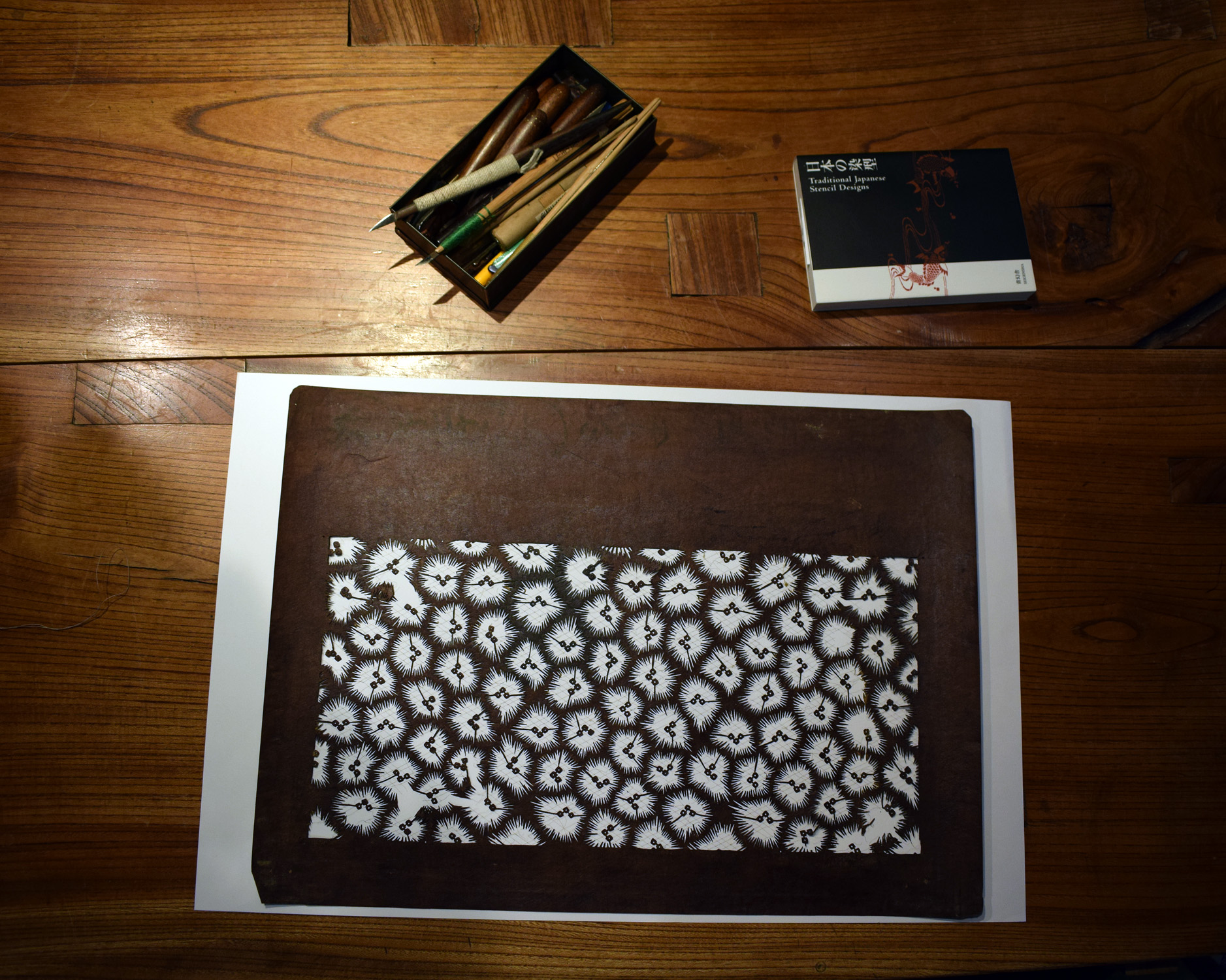 Katagami stencil - abstract flowers
