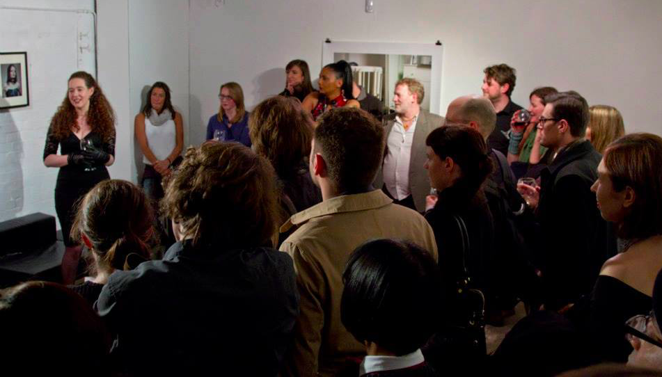 Anne O Nomis speaking at 'Yes Mistress' art exhibition at 100 Year Gallery, London, United Kingdom.