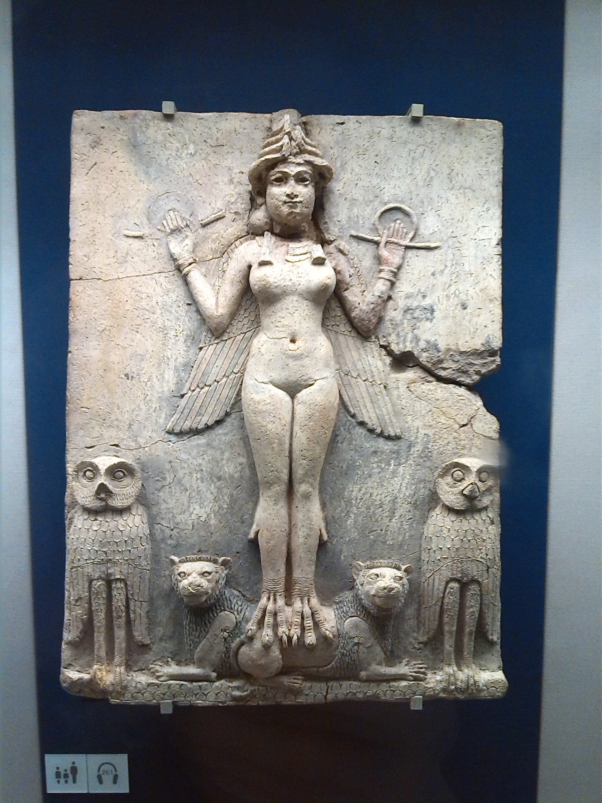 Image: 'Queen of the Night' relief believed to represent Inanna's night flight - rising from the Underworld or as the star or Venus through the sky, as bird-woman with wings. (Image my own) from British Museum collection.