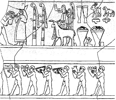 Image: Drawing of frieze detail from Uruk Vase, from city of Uruk, Southern Iraq, c3200 BCE.