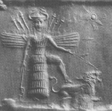 Detail of Goddess Inanna/Ishtar from cylinder seal impression