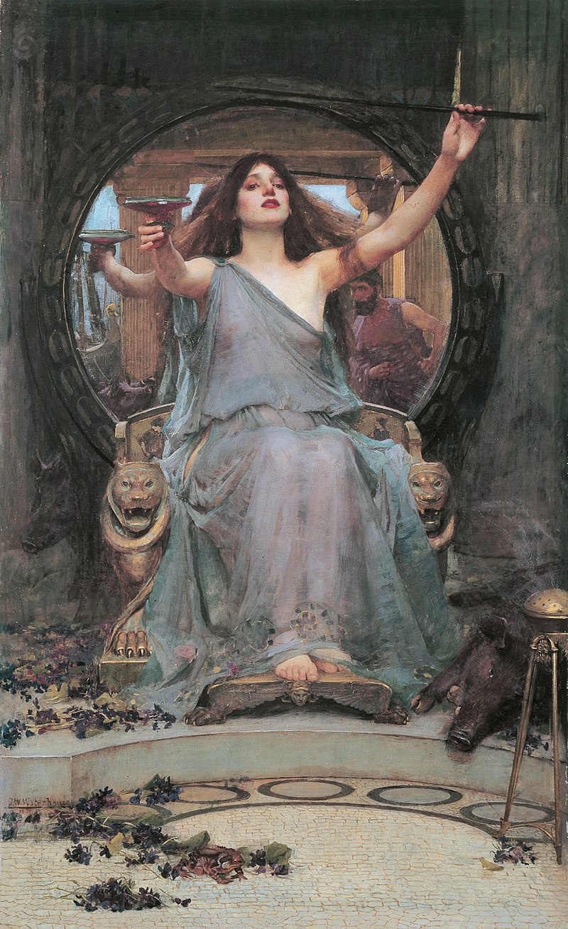 On her throne - a painting of Circe (Goddess and sorceress) by John William Waterhouse.