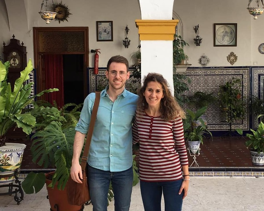 Ander with Isabel, English teacher at Trinitarias High School in Seville, Spain
