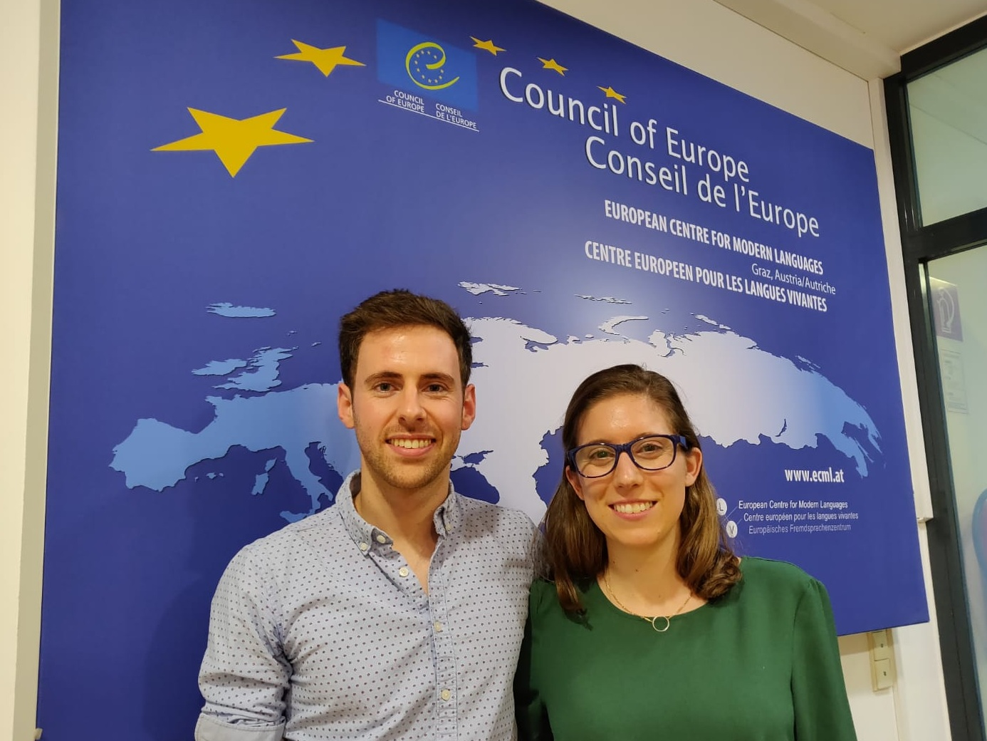 Co-founders Taylor and Ander at the Centre for Modern Languages in Graz, Austria