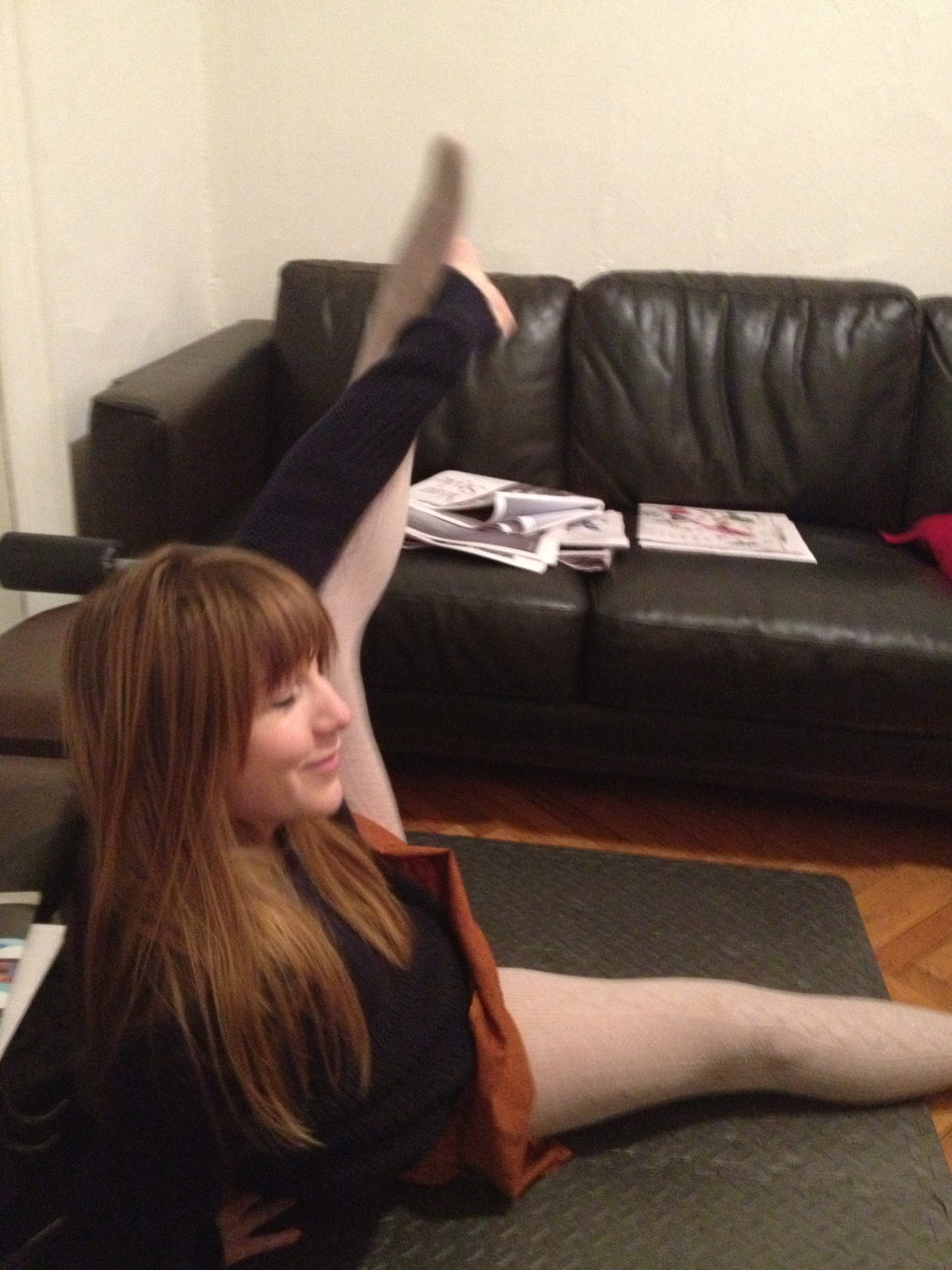 im either stretching or doing some kind of choreography in my living room haha