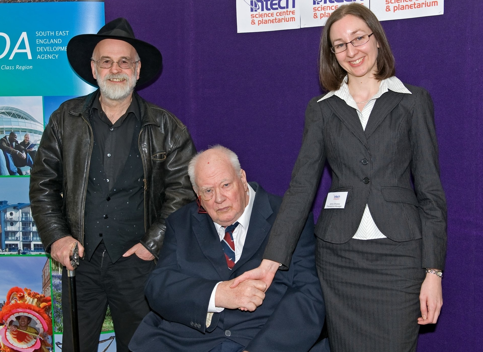 Winchester Planetarium launch event, 2008; with Terry Pratchett and Sir Patrick Moore.