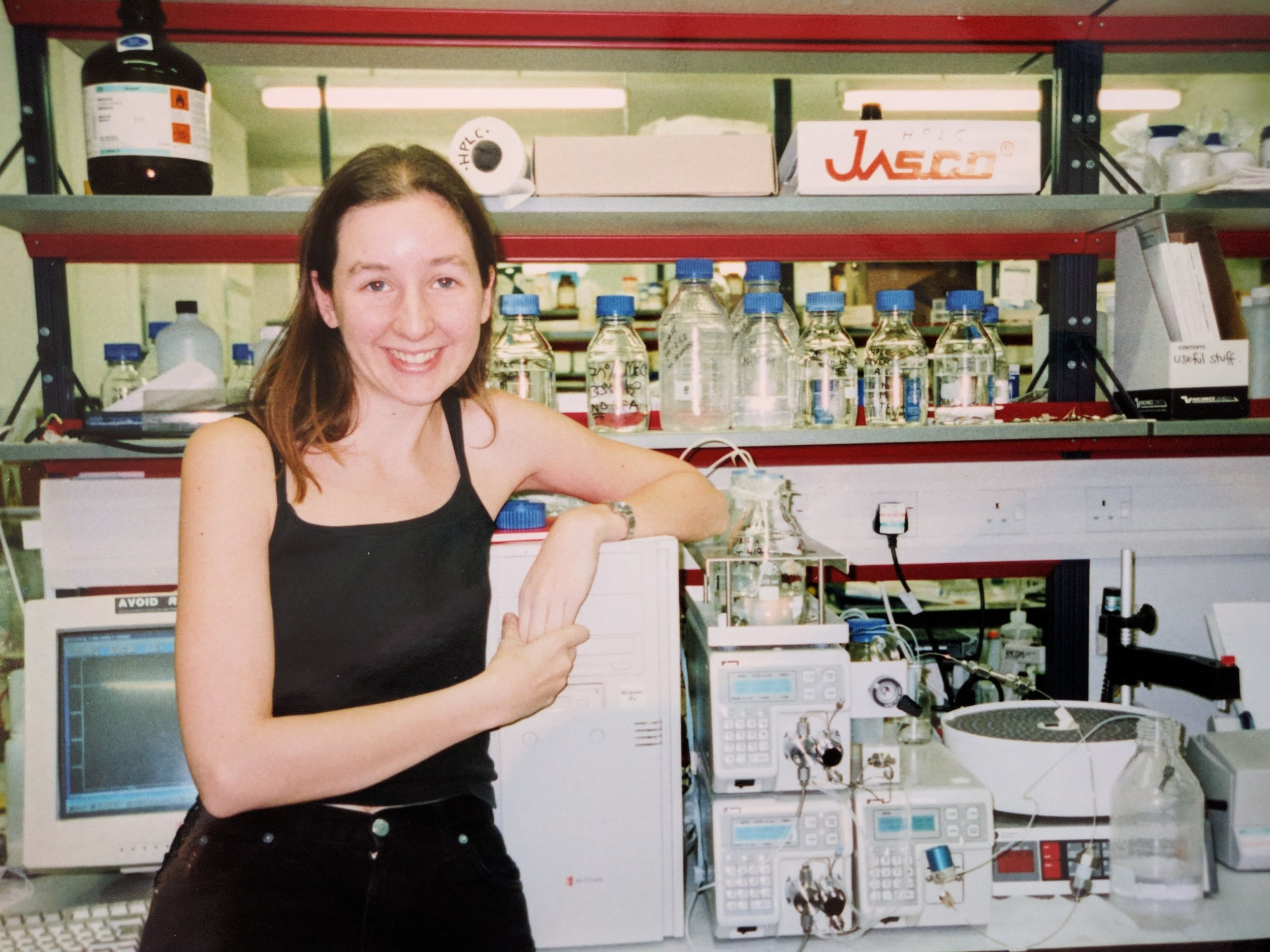 As a PhD student at Sussex University, with the HPLC system.