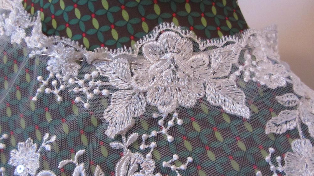 Handmade wedding dress shelley lace bodice with applique lace neckline.JPG