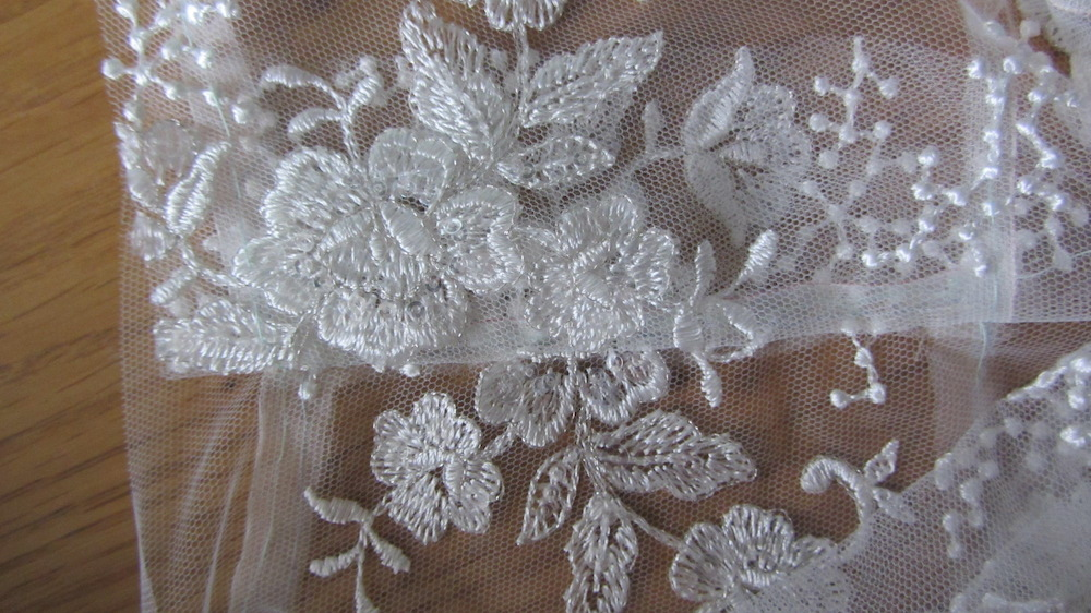 Handmade wedding dress lace bodice applique shoulder seams.JPG