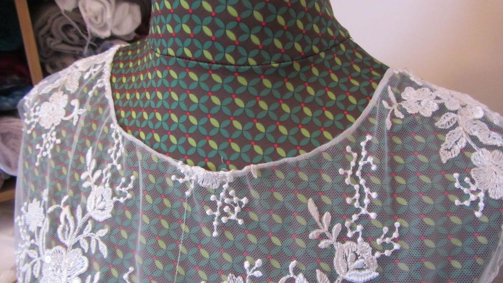 Handmade wedding dress shelley lace bodice with applique lace neckline 3.JPG