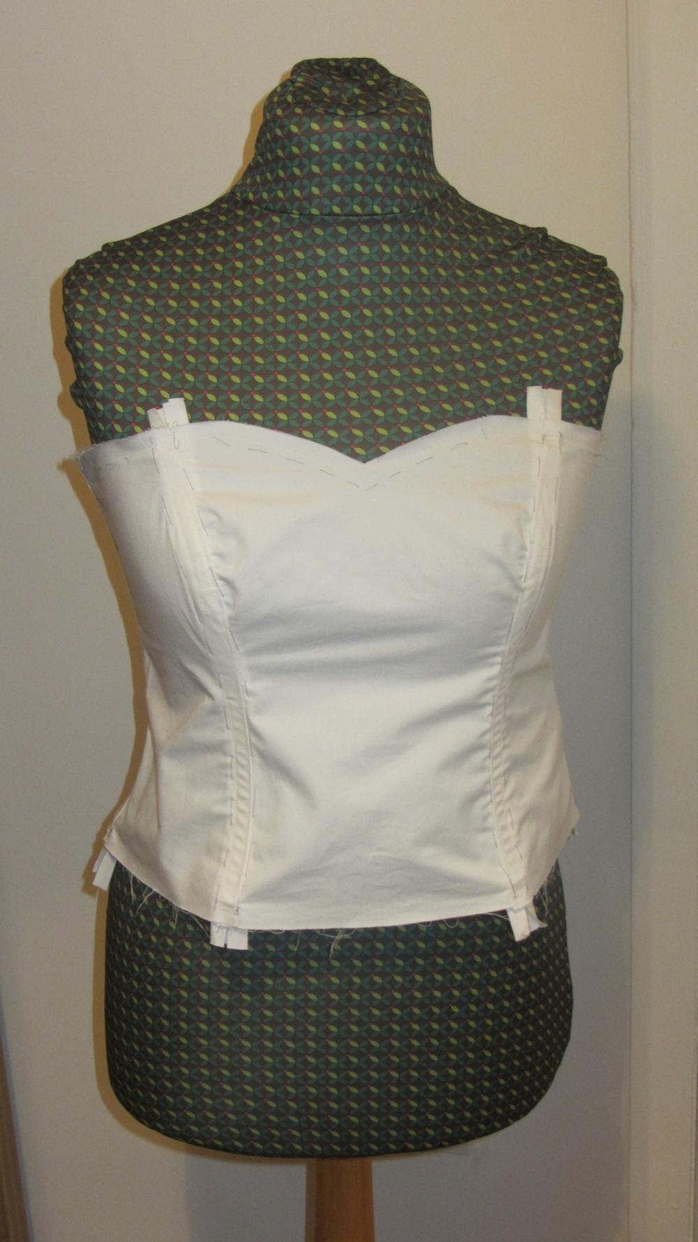 Handmade wedding dress cotton twill bodice with boning 4.jpg