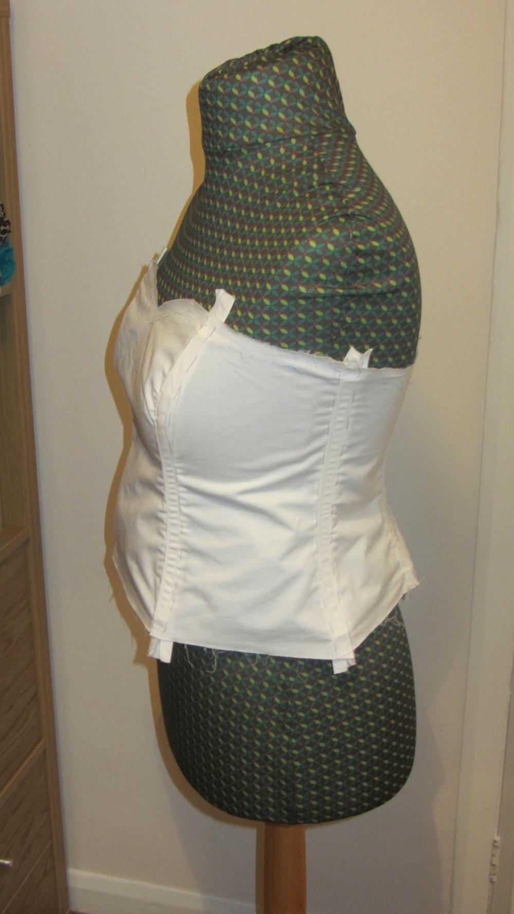 Handmade wedding dress cotton twill bodice with boning 3.jpg