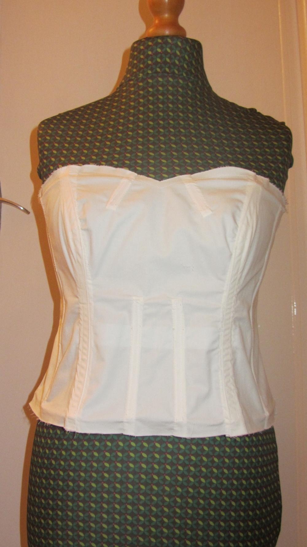 Handmade wedding dress cotton twill bodice with boning.jpg