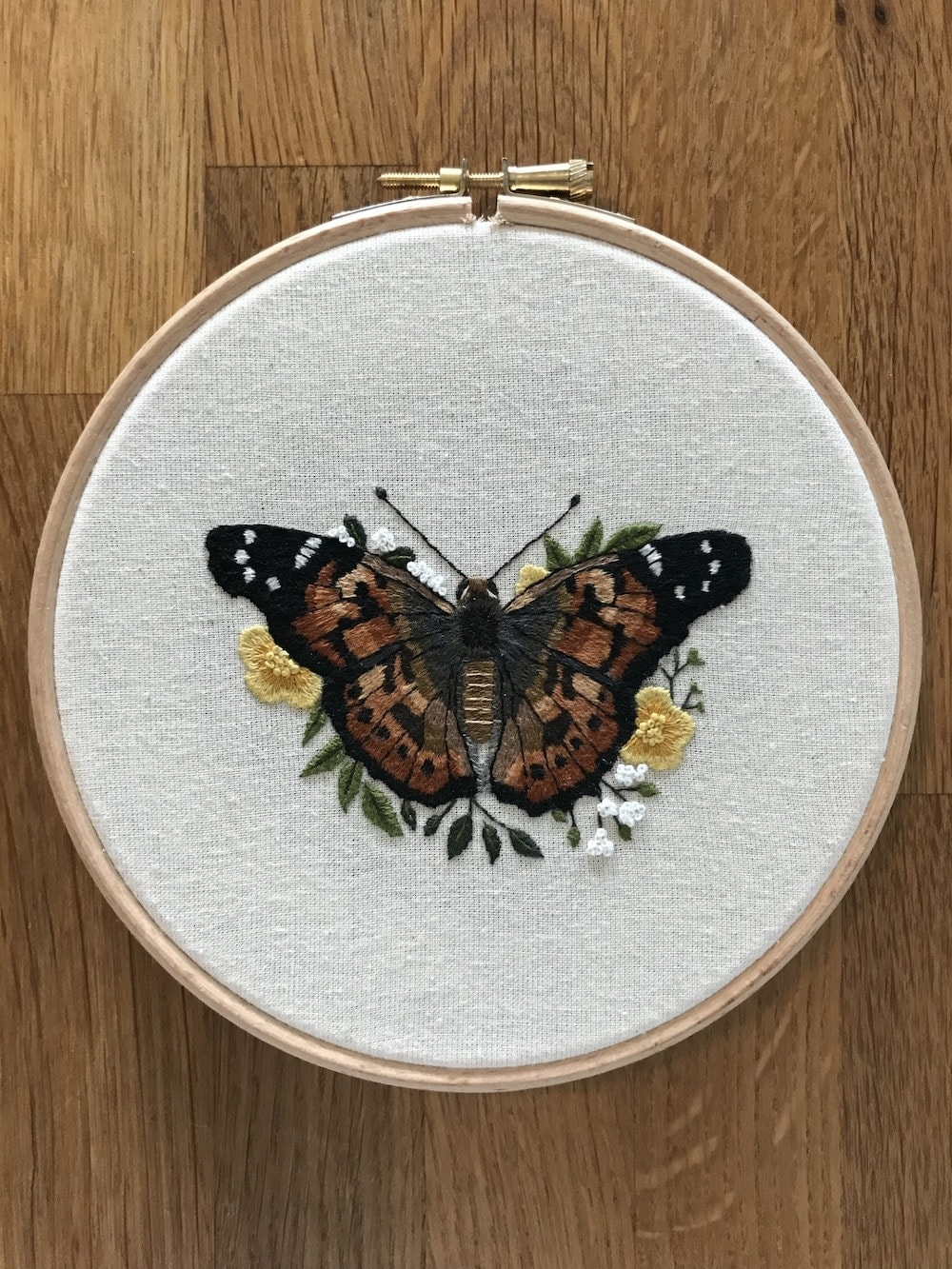 Painted Lady Butterfly needle painting embroidery pattern by Emillie Ferris.jpg
