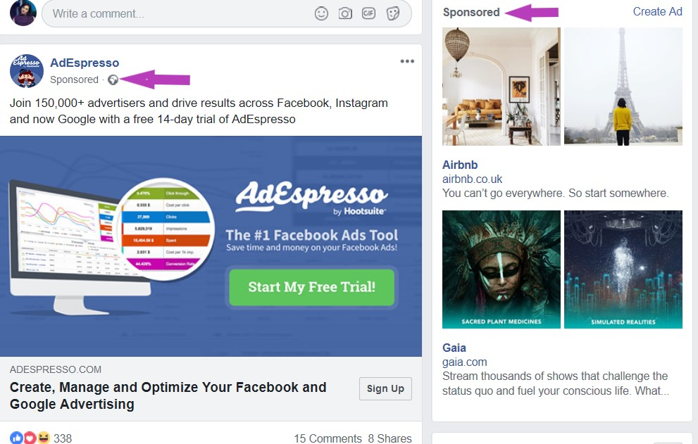 Facebook ads examples in feed