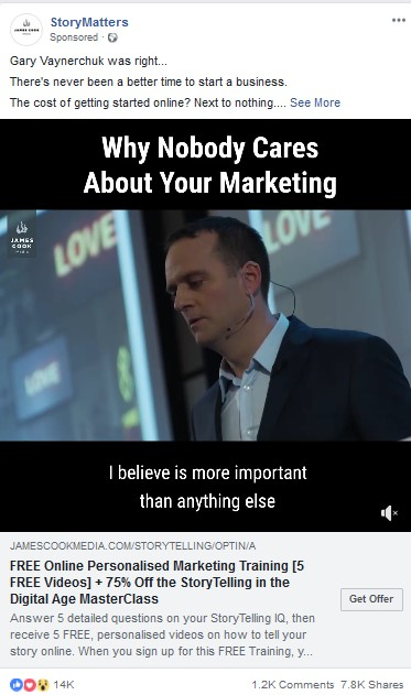Facebook video ads example