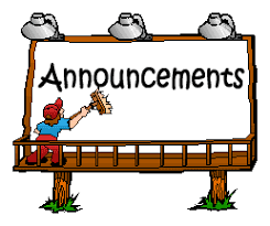 Click here for our weekly announcements.