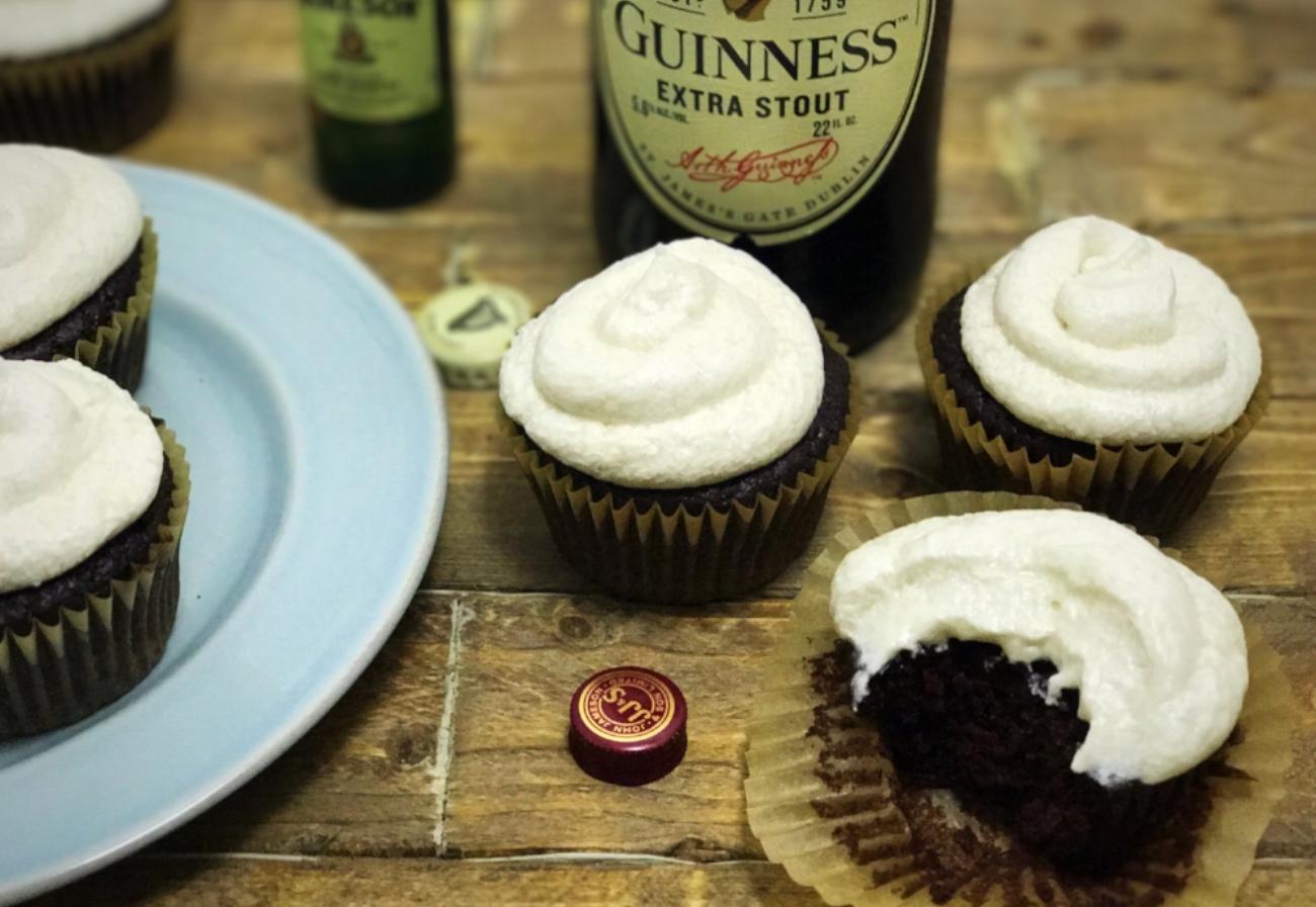 vegan irish st patricks day guinness cupcakes