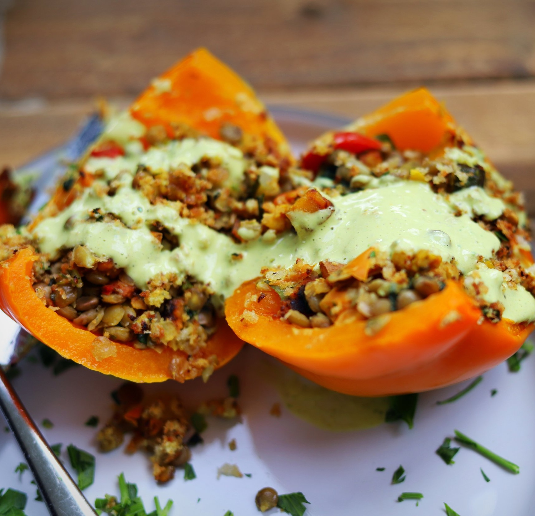 vegan stuffed peppers lemon tahini dressing