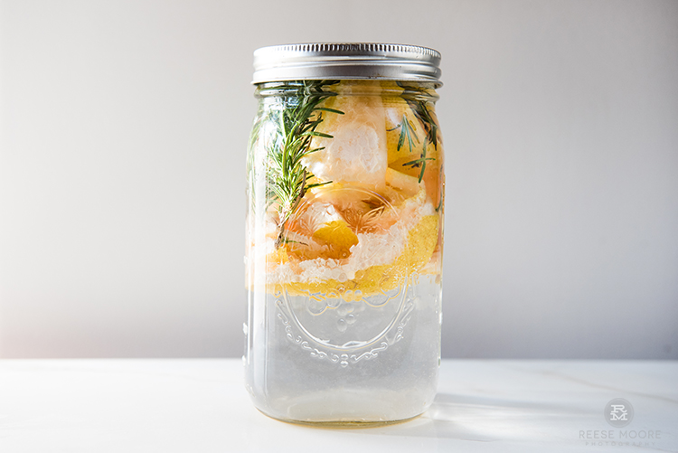 Grapefruit rosemary infusion, day 1