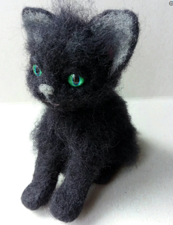 Felted Black Cat