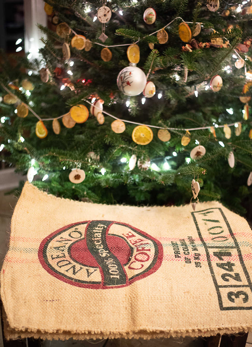 DIY Tabletop Christmas Tree Skirt from an Upcycled Burlap Coffee Sack