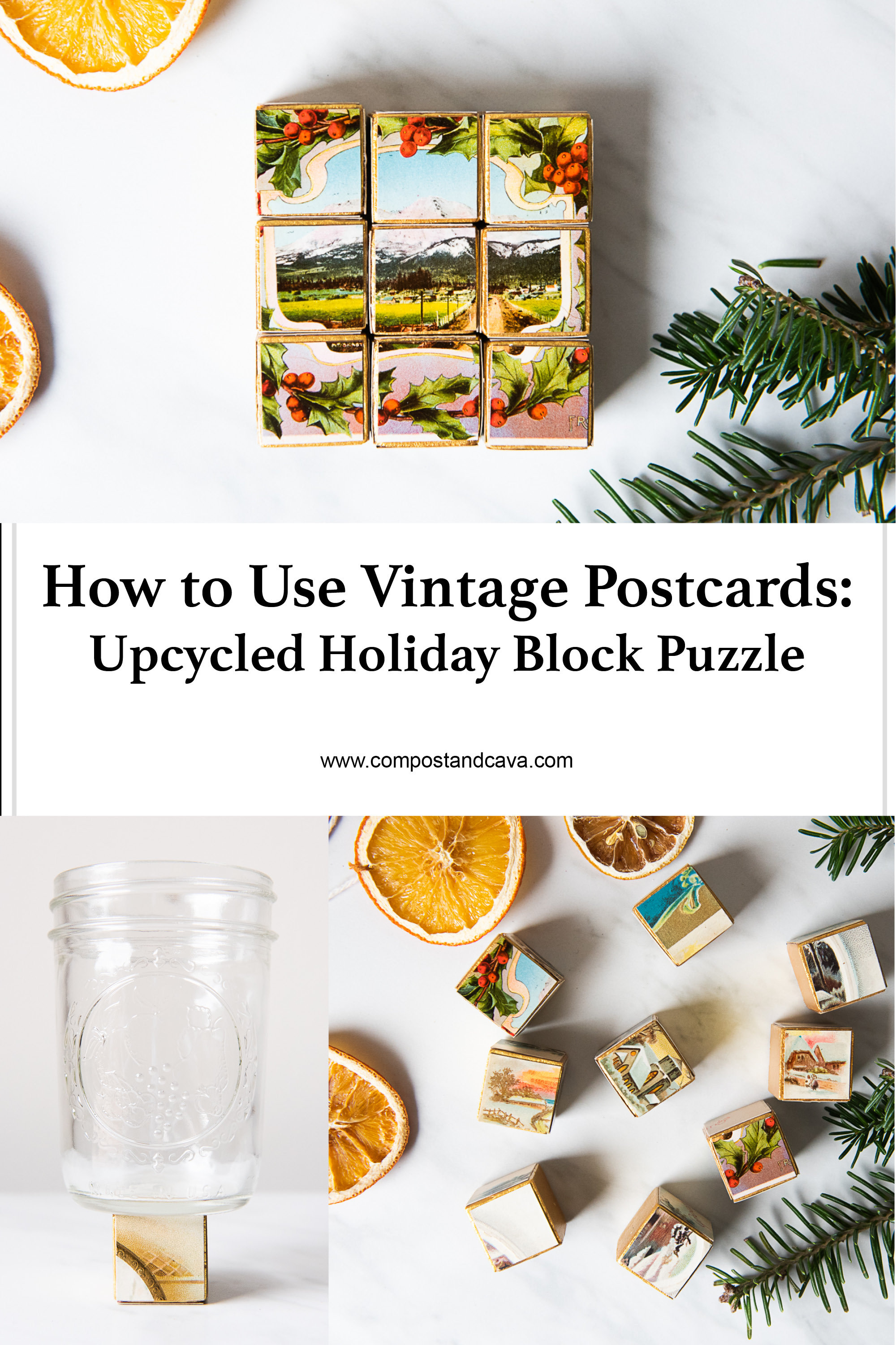 DIY Christmas Block Puzzle Made From Upcycled Vintage Postcards