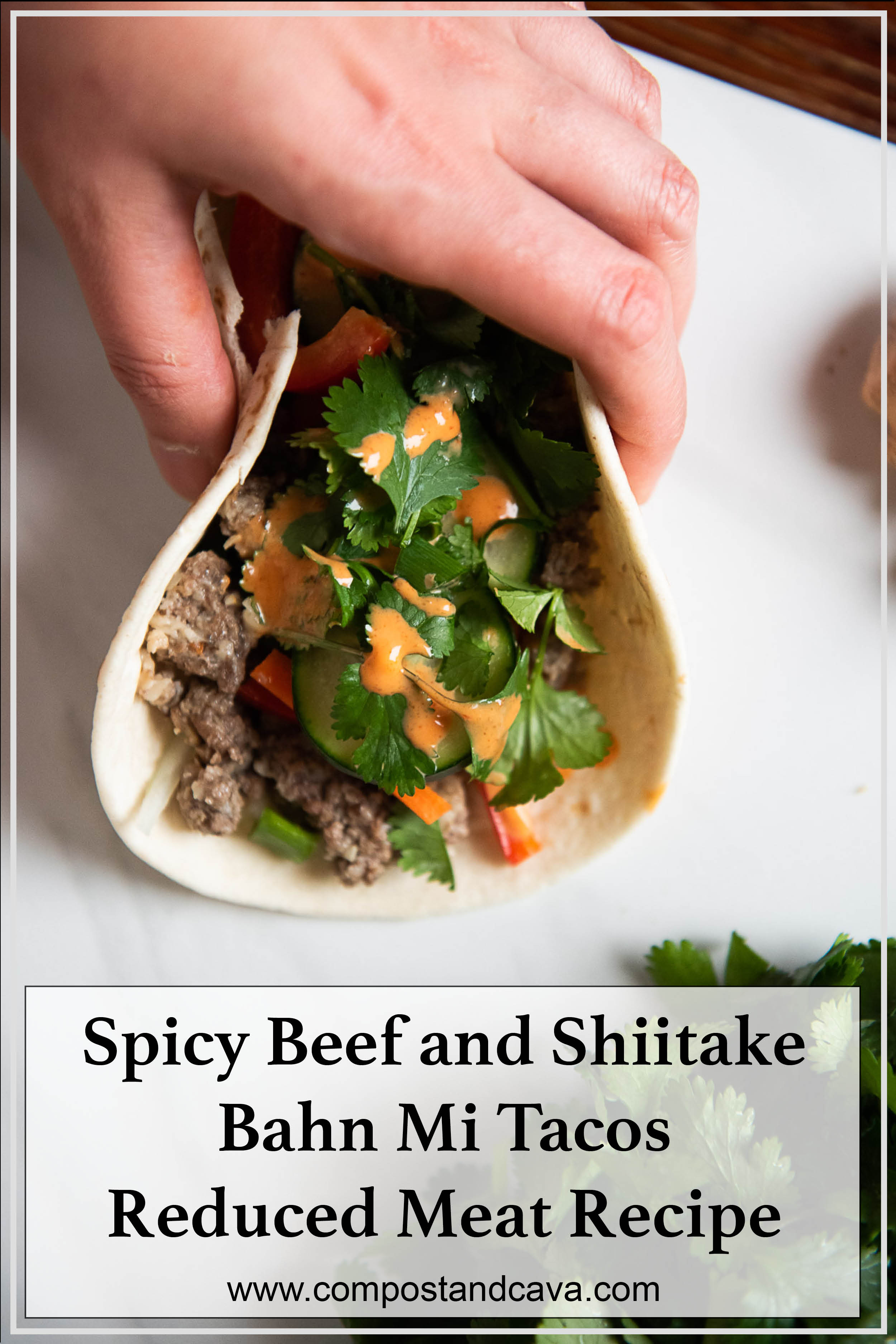 Spicy Beef and Shiitake Bahn Mi Tacos (Reduced Meat)