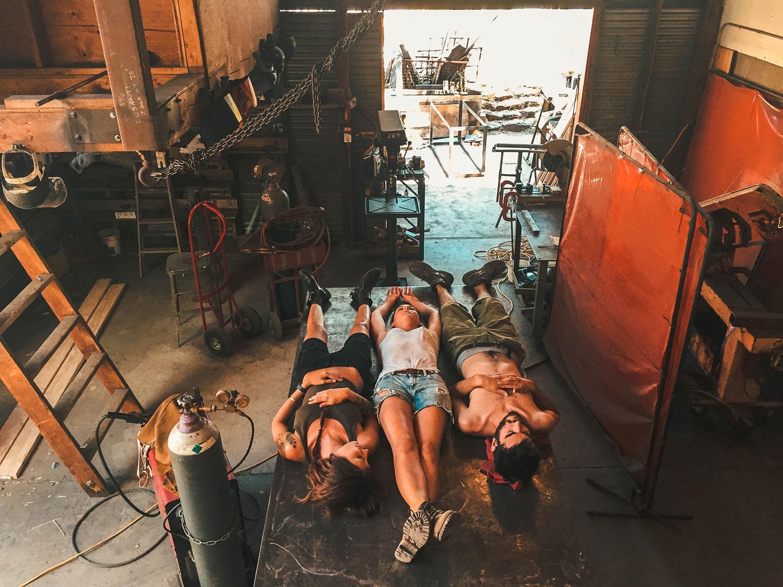 Nap time in the welding studio