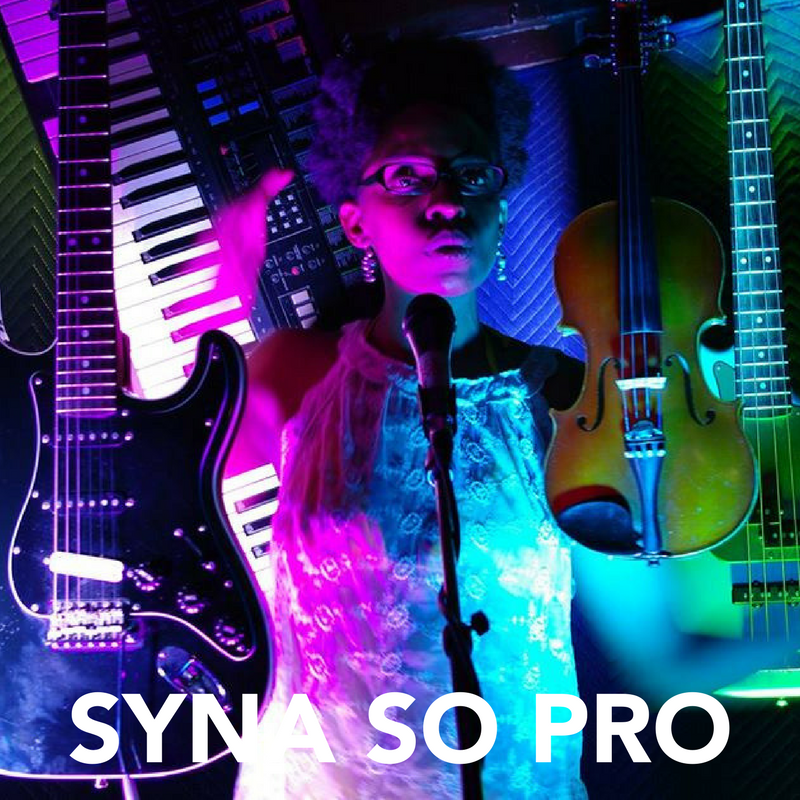 Syna So Pro, Syrhea Conaway, is a one woman band who uses a multiplex of effects pedals, rack units, mixers, several instruments, and drum beats to create her live sound.