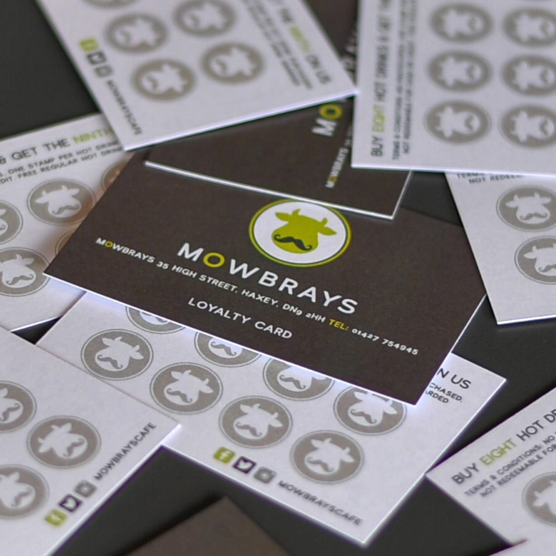Mowbrays loyalty card - Buy eight hot drinks and get the ninth on us. Pick up your card in the cafe.
