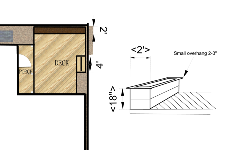 Bungalow Cottage Deck Design   Detailed deck design that was included in a Small Site Design Package