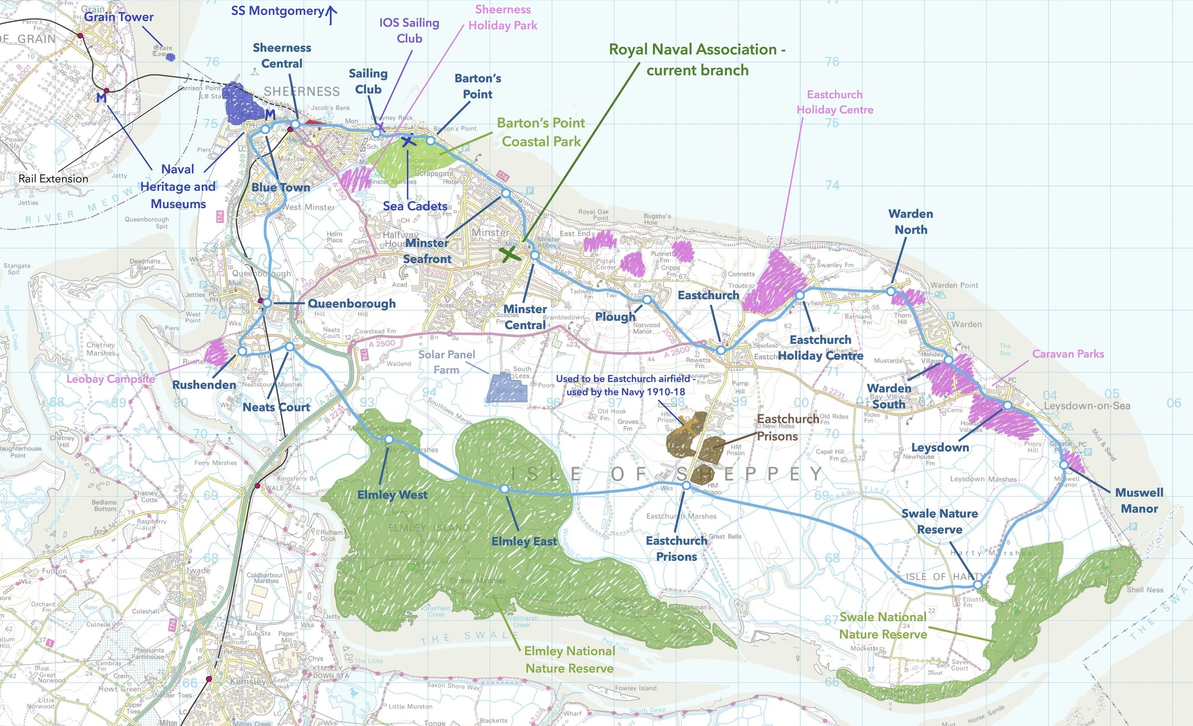 Annotated OS Map, showing the route of the SLR and important places.