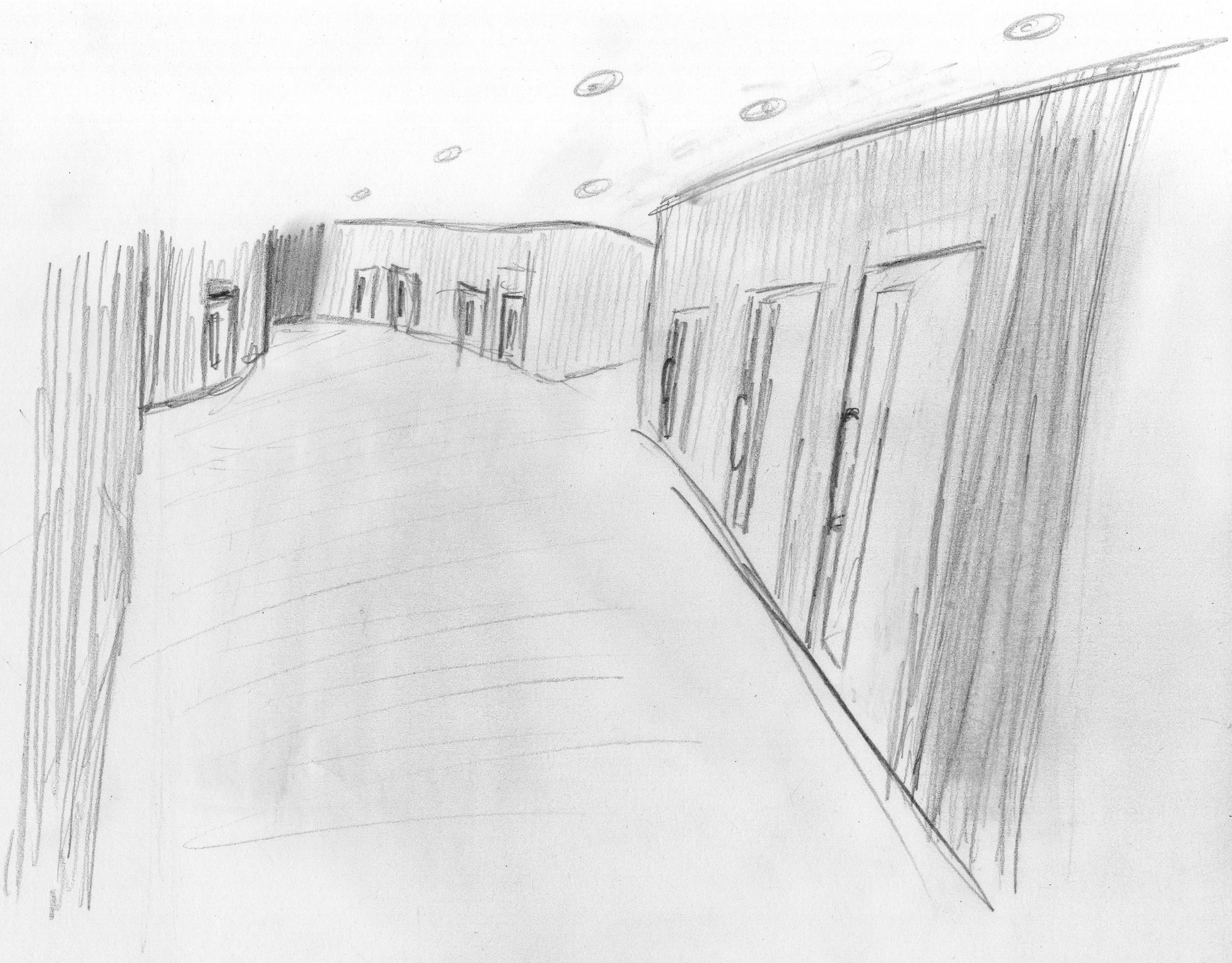Corridor to therapy rooms.