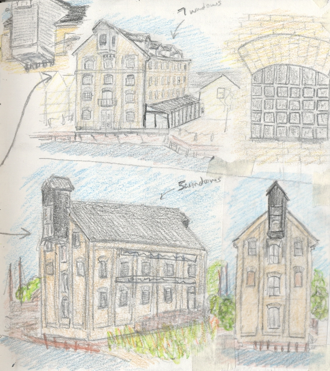 19th Century building sketches. Provender Mill (top), Oyster Bay House (bottom)