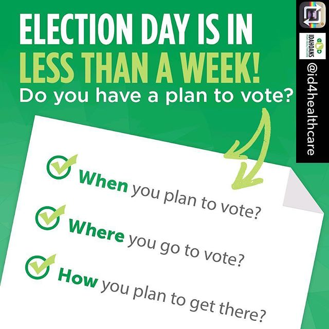 Repost from @id4healthcare - Have you made your plan to vote?? If you have any questions, find your answers here: http://idahovotes.gov/ . . . #voteyeson2 #idleg #idpol #idaholegislature #closethegap #takeittothevoters #healthcareforall #idaho #medicaid #healthcare #medicaidexpansion #yesonprop2