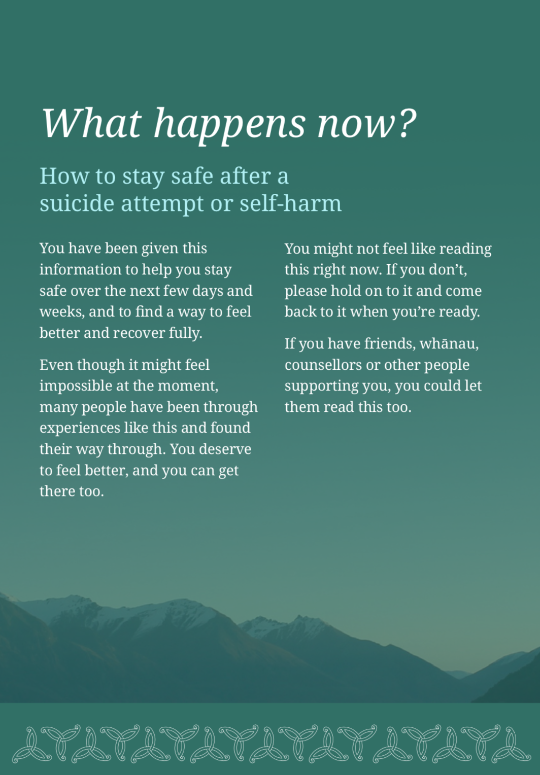 What Happens Now? How to stay safe after a suicide attempt or self-harm (NZ) -   Download
