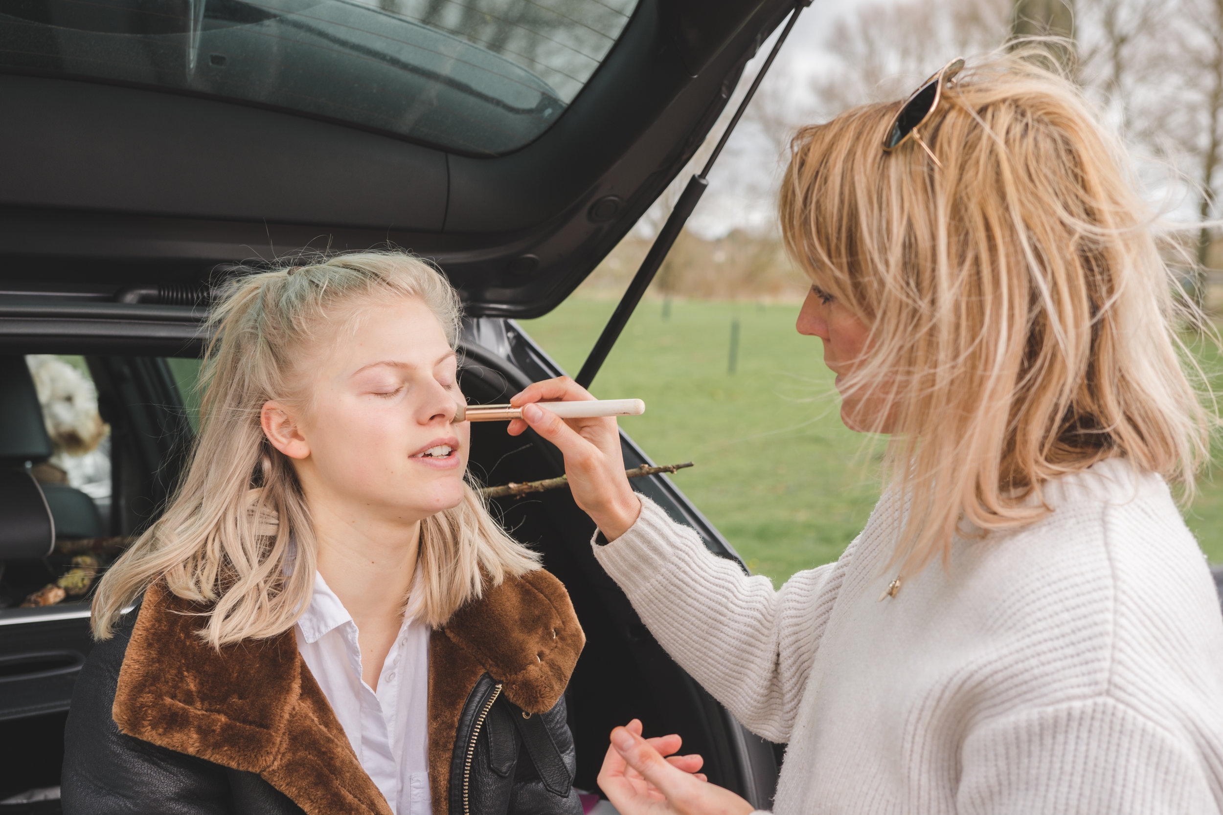 me applying makeup in the back of a car (2019)