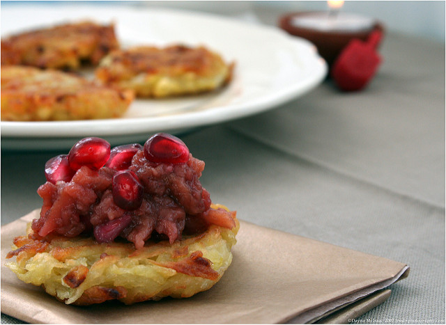 Dayna McIsaac Latkes with Quince Pomegranate Chutney vegan