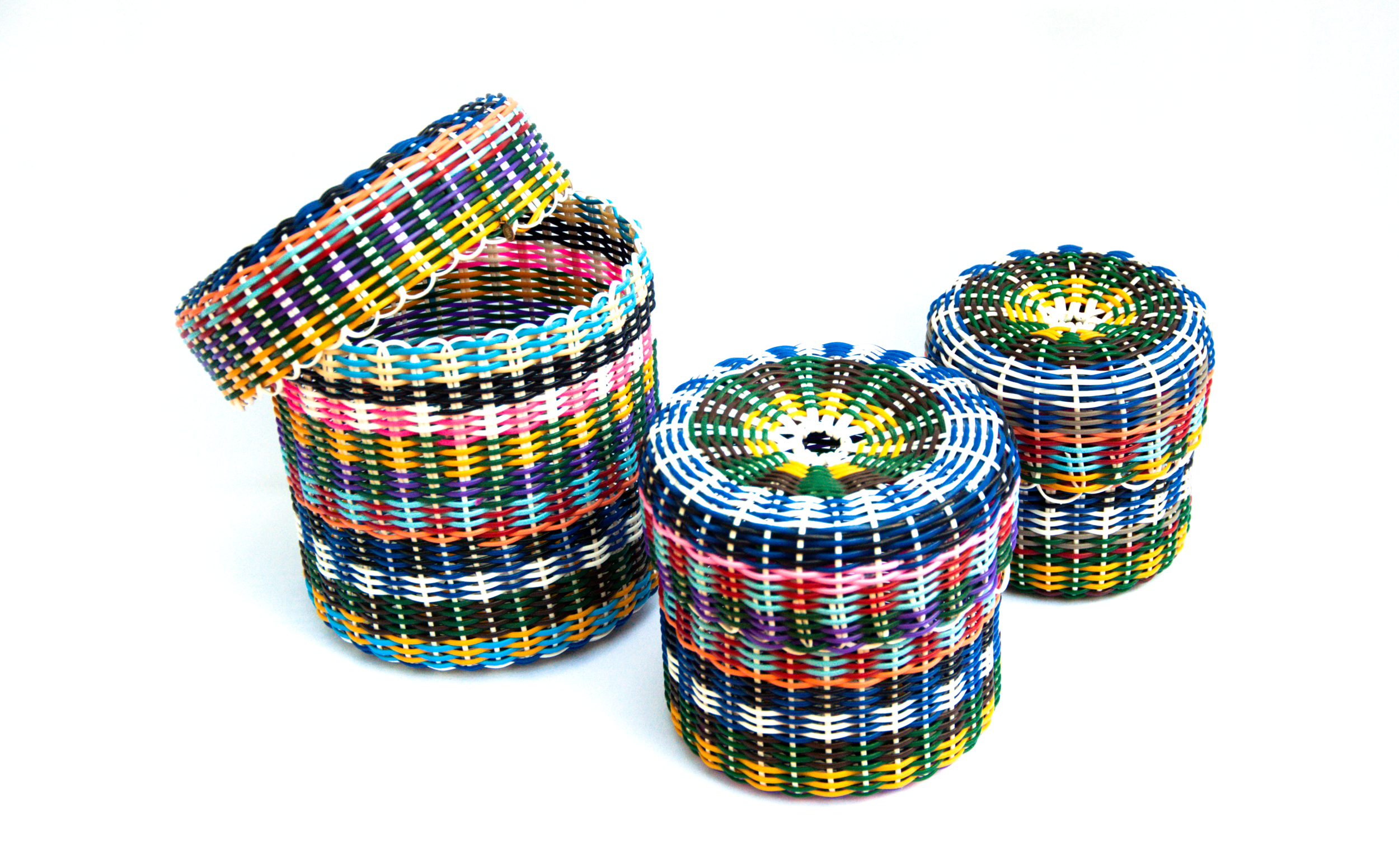 Containers hand woven from recycled plastic cord
