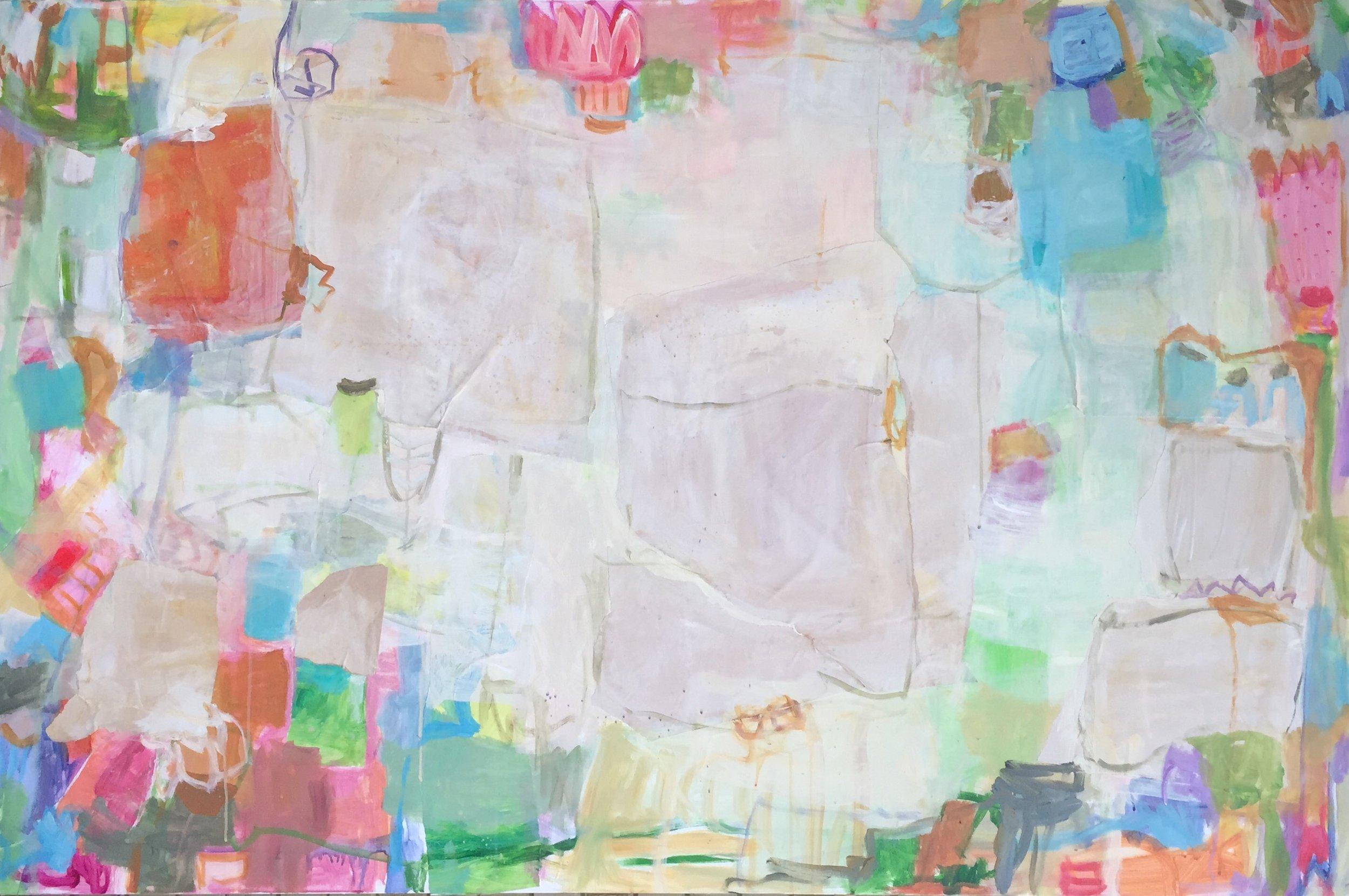 "Sun Still Rises  48""x72"" mixed media on canvas  Blue Print Store"