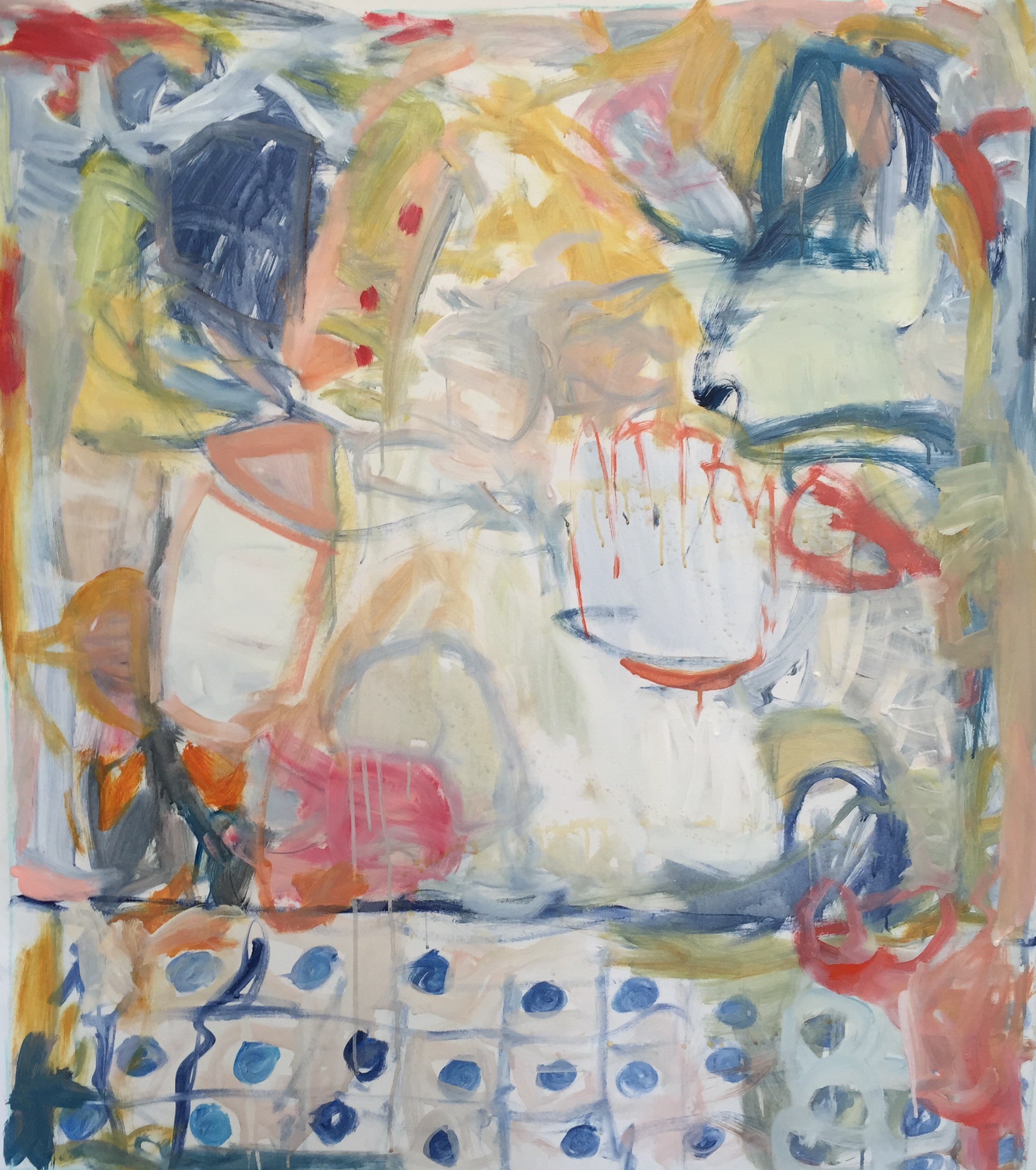 """Picnic II  44""""x38.5"""" mixed media on canvas  SOLD 
