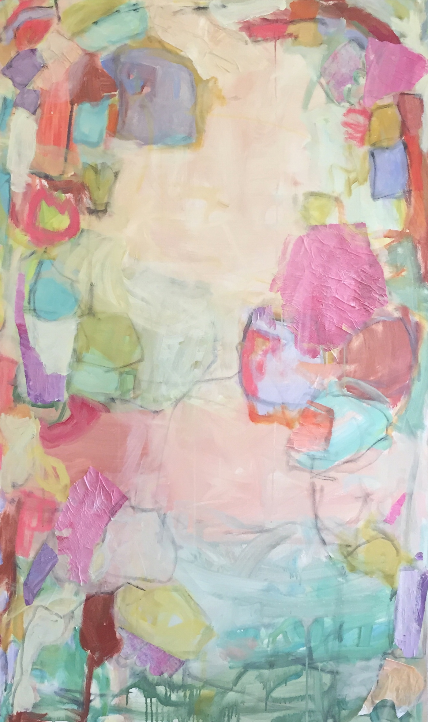 """Melody  60""""x36"""" mixed media collage on canvas  L Ross Gallery"""