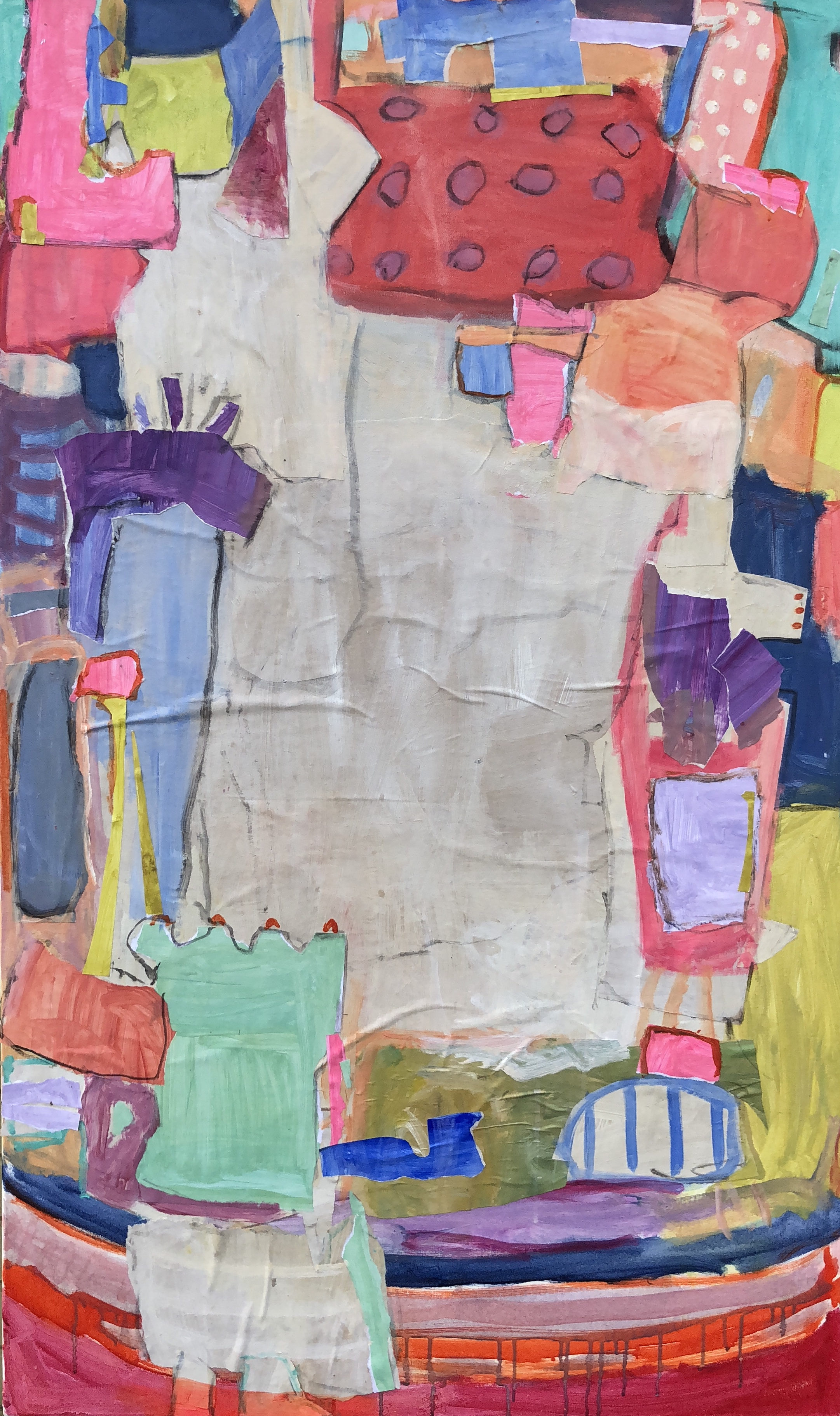 """Dippin Dots II  36""""x60"""" mixed media collage on canvas  Blue Print Store"""