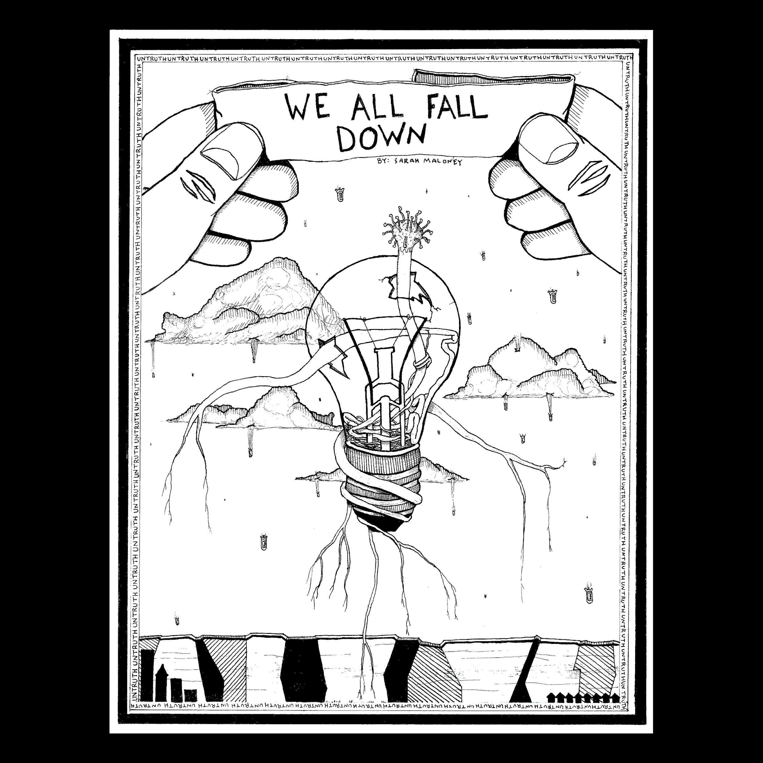 We All Fall Down - After falling into the drawn world, Rosalind wants to find her way back home. However, this world is constructed on untruth and absurdities, making her journey back home....complicated. A mad botanist becomes her guide, but is utterly unhelpful in his helpfulness. As the duo try to get her home they learn that absurdity depends on your persective and truth is harder to find than lies